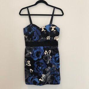 Forever 21 Black and Blue Floral Strapless Dress